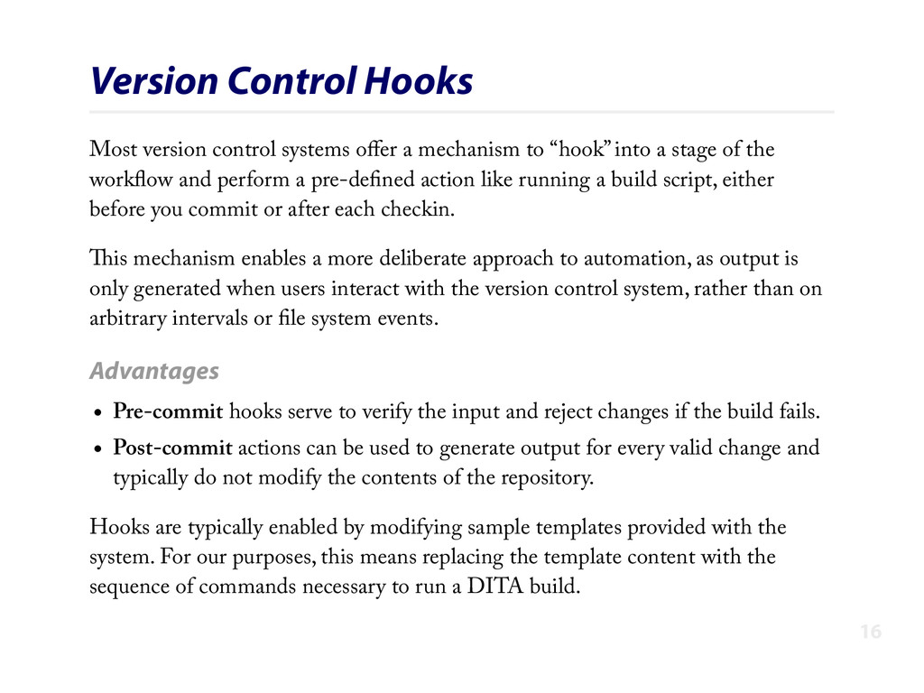 Version Control Hooks Most version control syst...
