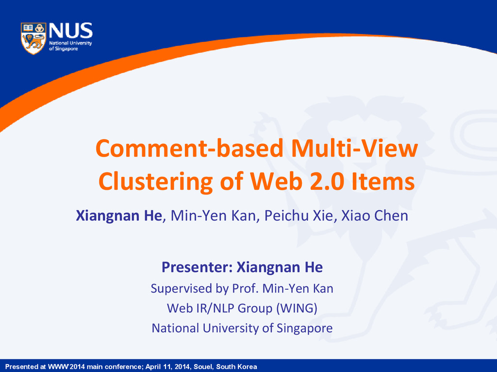 Comment-based Multi-View Clustering of Web 2.0 ...