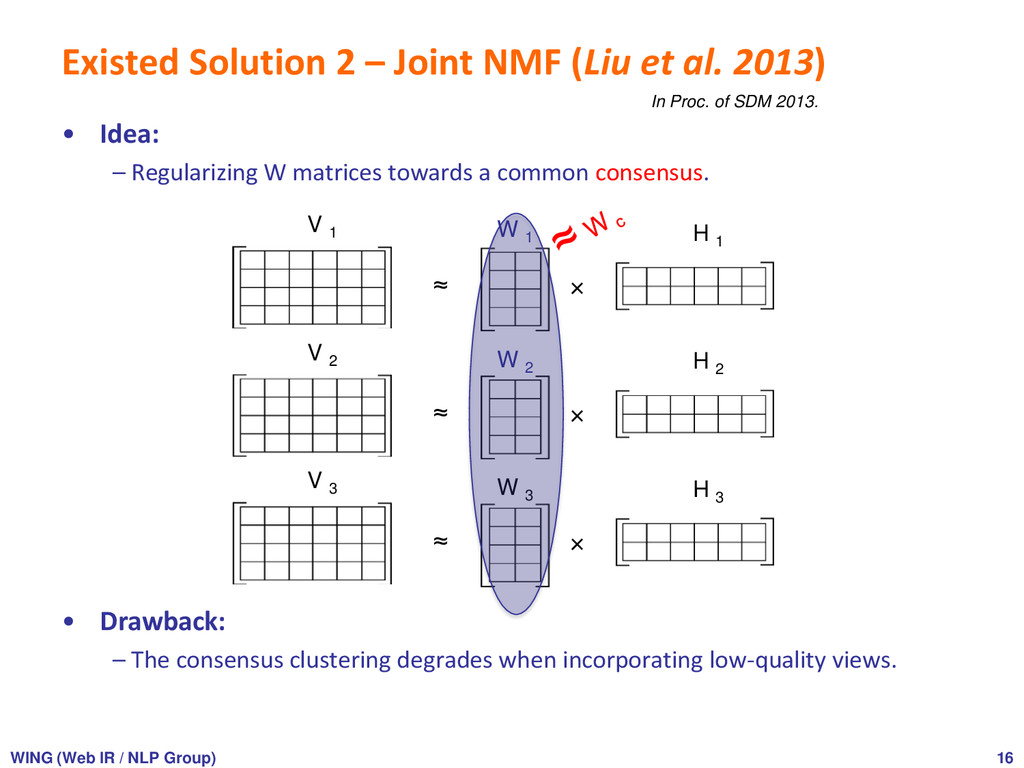 Existed Solution 2 – Joint NMF (Liu et al. 2013...