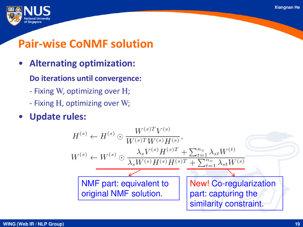 Xiangnan He Pair-wise CoNMF solution • Alternat...