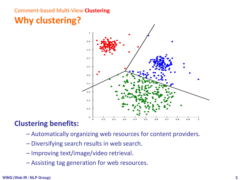 Comment-based Multi-View Clustering Why cluster...