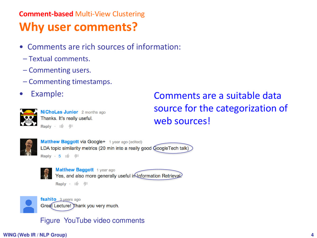 Comment-based Multi-View Clustering Why user co...