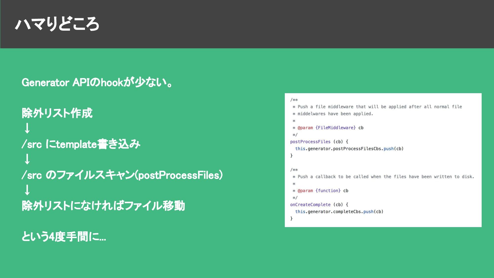 ハマりどころ Generator APIのhookが少ない。 除外リスト作成 ↓ /src に...