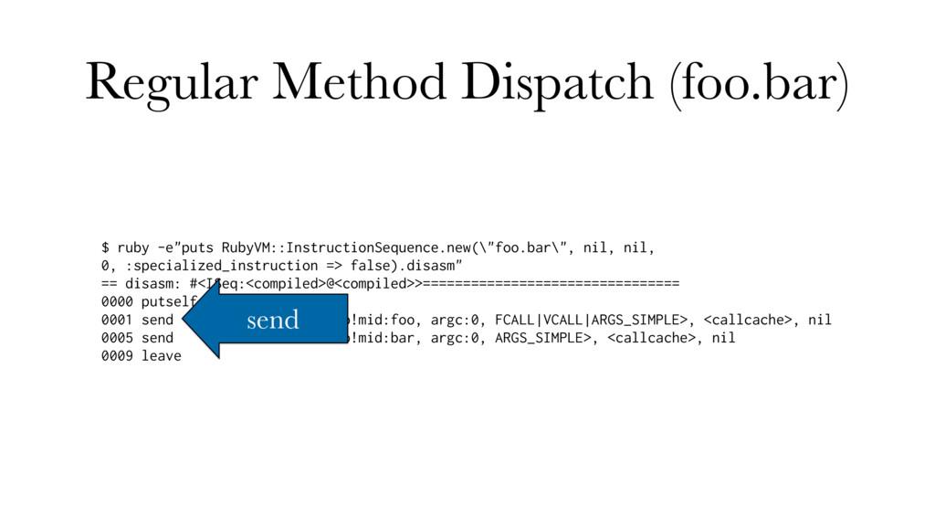 "Regular Method Dispatch (foo.bar) $ ruby -e""put..."