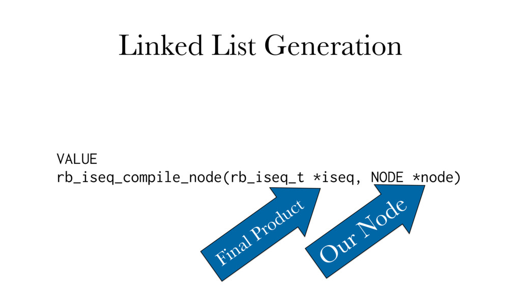 Linked List Generation VALUE rb_iseq_compile_no...
