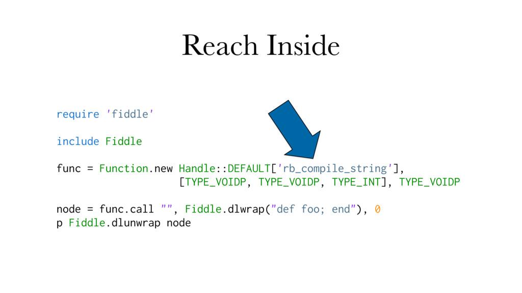 Reach Inside require 'fiddle' include Fiddle fu...