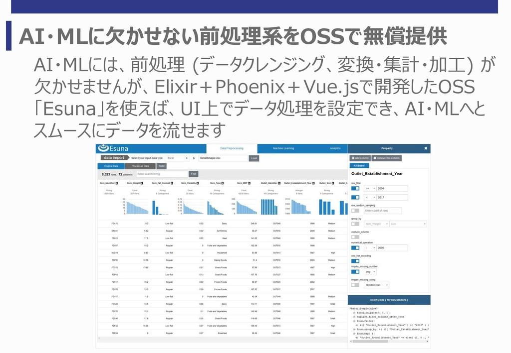 AI・MLに欠かせない前処理系をOSSで無償提供 AI・MLには、前処理 (データクレンジング...