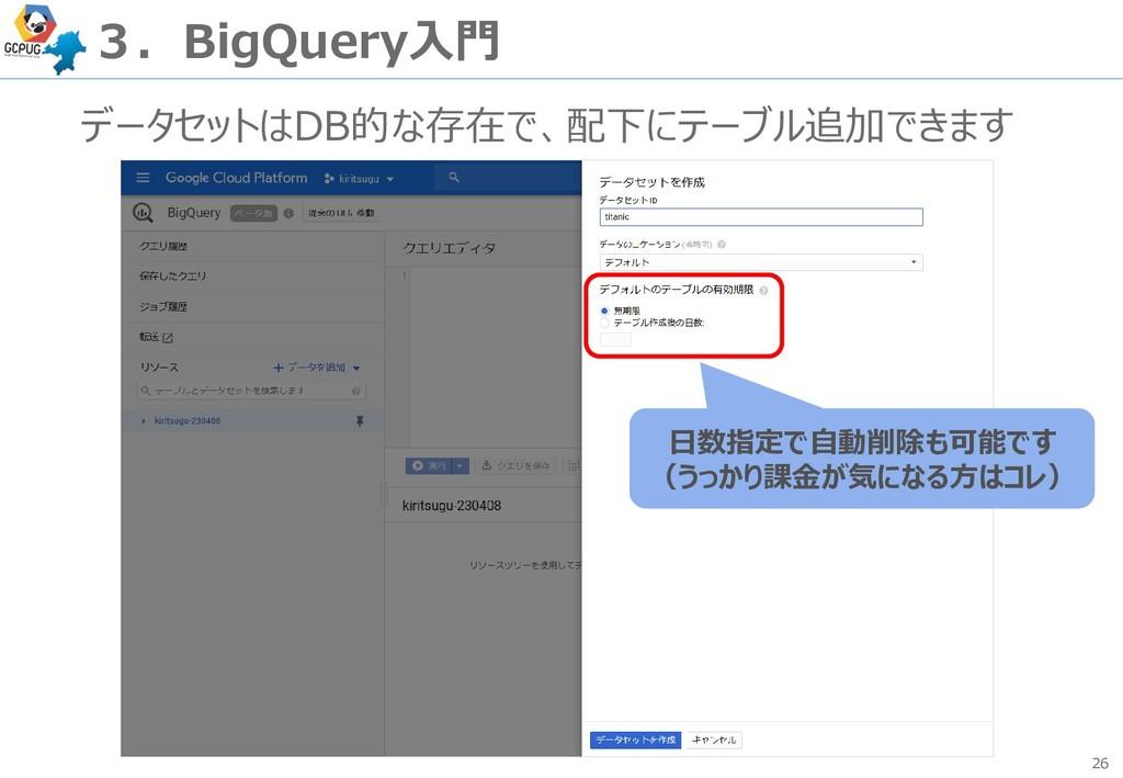 26 3.BigQuery入門 データセットはDB的な存在で、配下にテーブル追加できます 日数...