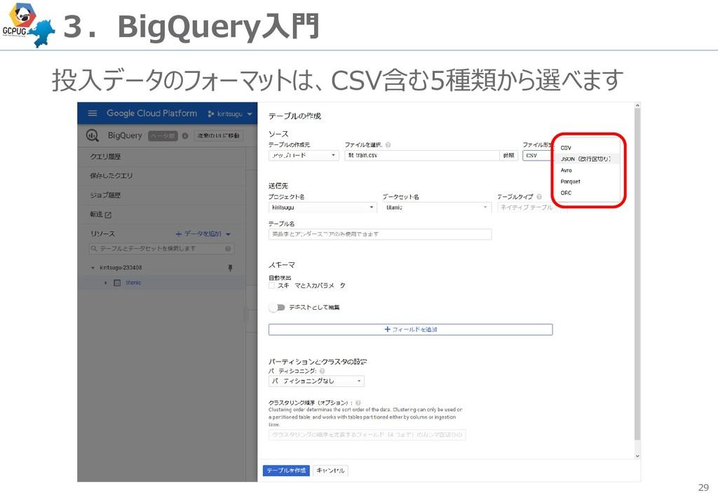 29 3.BigQuery入門 投入データのフォーマットは、CSV含む5種類から選べます