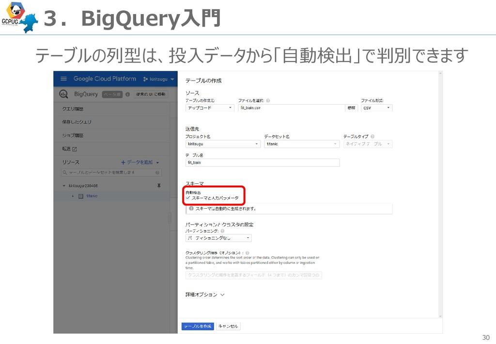 30 3.BigQuery入門 テーブルの列型は、投入データから「自動検出」で判別できます