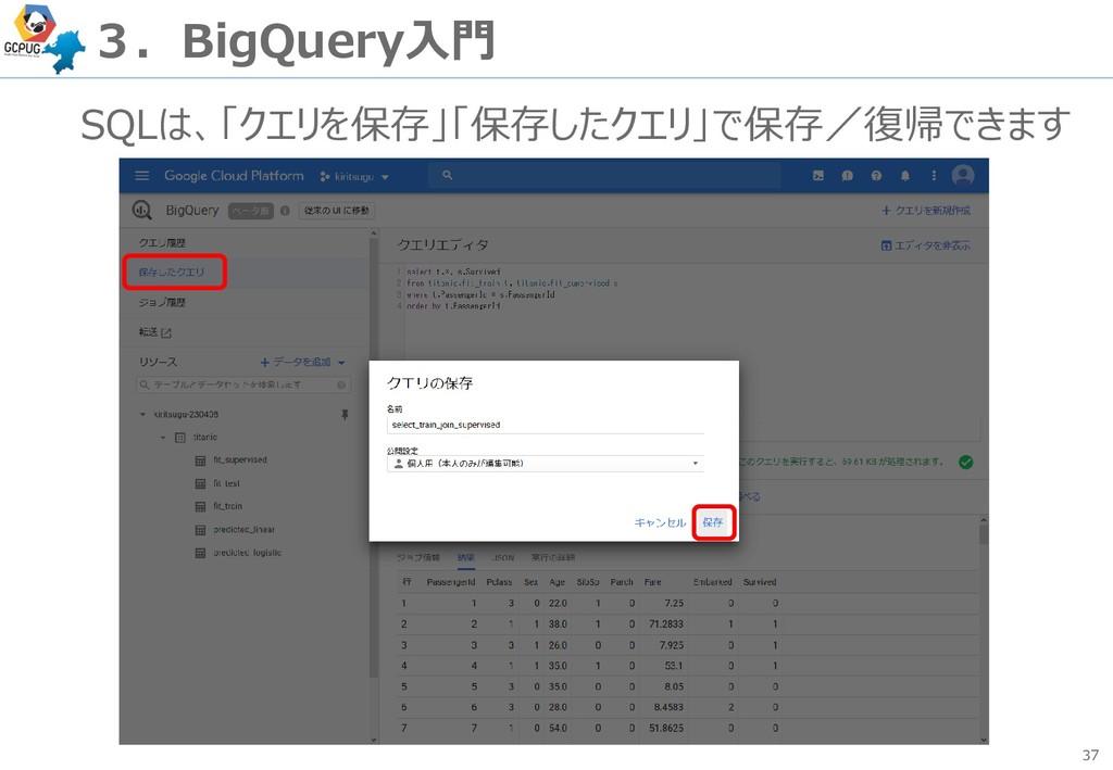 37 3.BigQuery入門 SQLは、「クエリを保存」「保存したクエリ」で保存/復帰できます