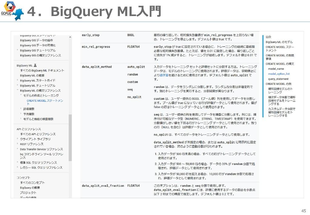 45 4.BigQuery ML入門