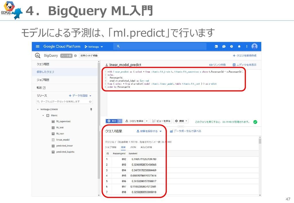 47 4.BigQuery ML入門 モデルによる予測は、「ml.predict」で行います