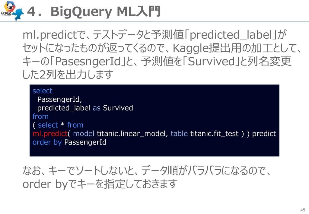 48 4.BigQuery ML入門 ml.predictで、テストデータと予測値「predi...