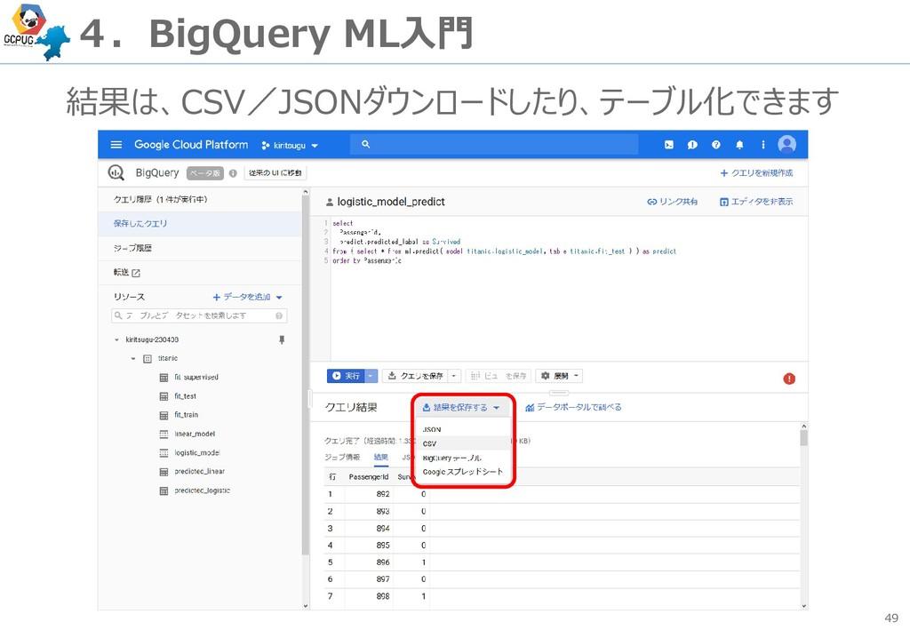 49 4.BigQuery ML入門 結果は、CSV/JSONダウンロードしたり、テーブル化で...