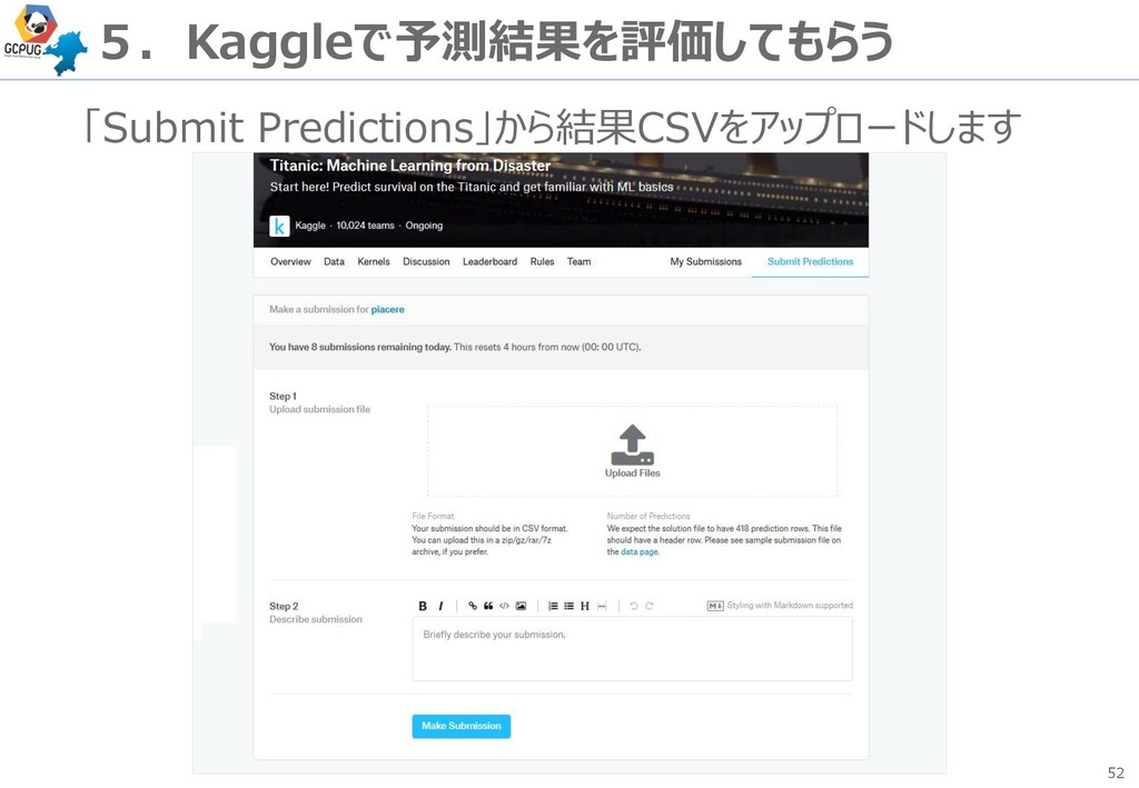 52 5.Kaggleで予測結果を評価してもらう 「Submit Predictions」から...