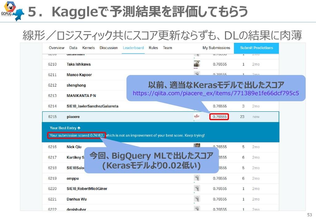 53 5.Kaggleで予測結果を評価してもらう 線形/ロジスティック共にスコア更新ならずも、...
