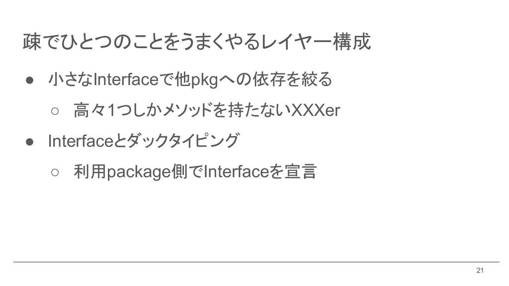 ● 小さなInterfaceで他pkgへの依存を絞る ○ 高々1つしかメソッドを持たないXXX...