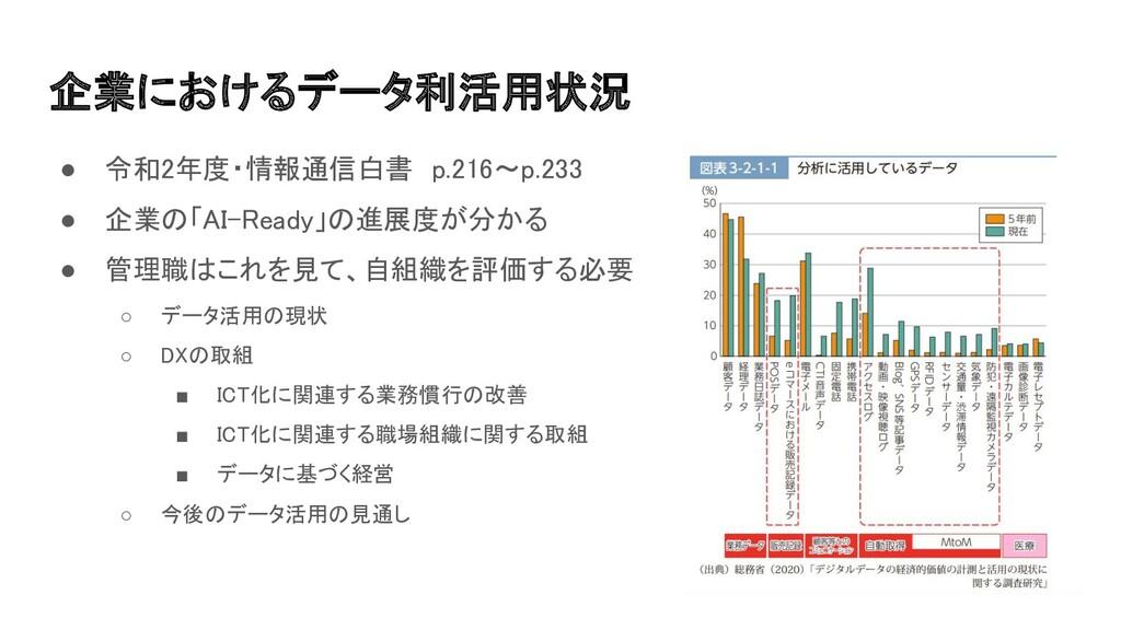 企業におけるデータ利活用状況 ● 令和2年度・情報通信白書 p.216〜p.233 ● 企...