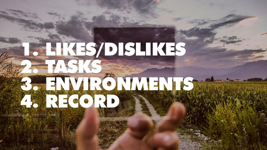 1. LIKES/DISLIKES 2. TASKS 3. ENVIRONMENTS 4. R...