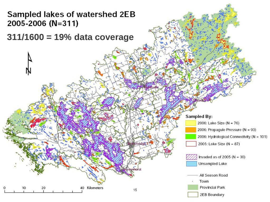 16 311/1600 = 19% data coverage