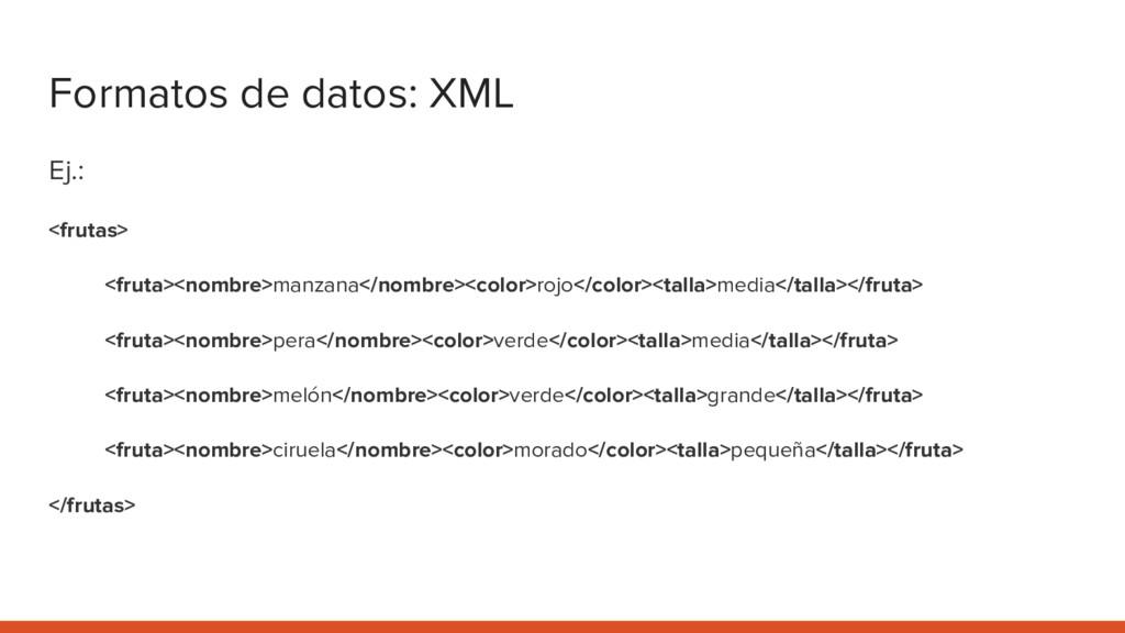 Formatos de datos: XML Ej.: <frutas> <fruta><no...
