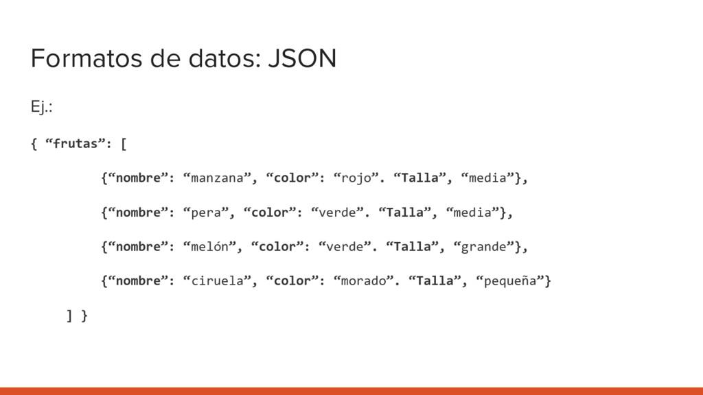"""Formatos de datos: JSON Ej.: { """"frutas"""": [ {""""no..."""