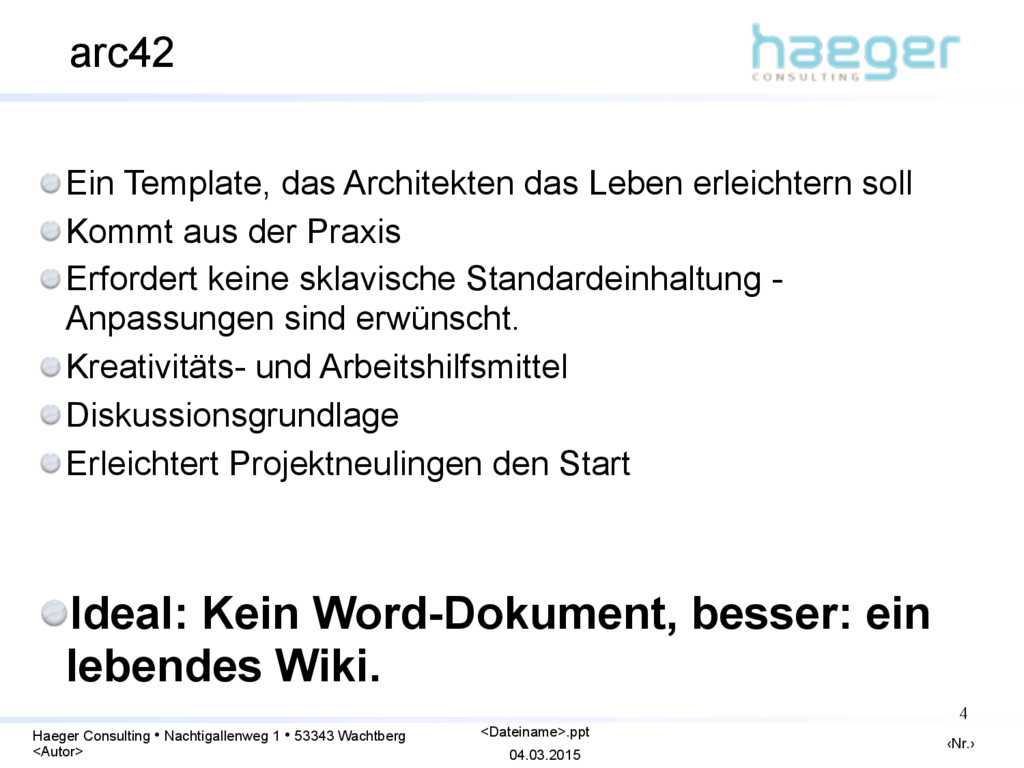 04.03.2015 ‹Nr.› Haeger Consulting • Nachtigall...
