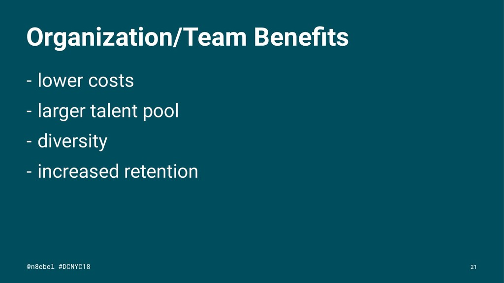 Organization/Team Benefits - lower costs - large...