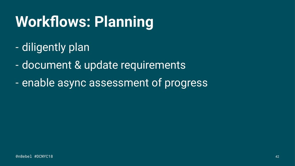 Workflows: Planning - diligently plan - document...