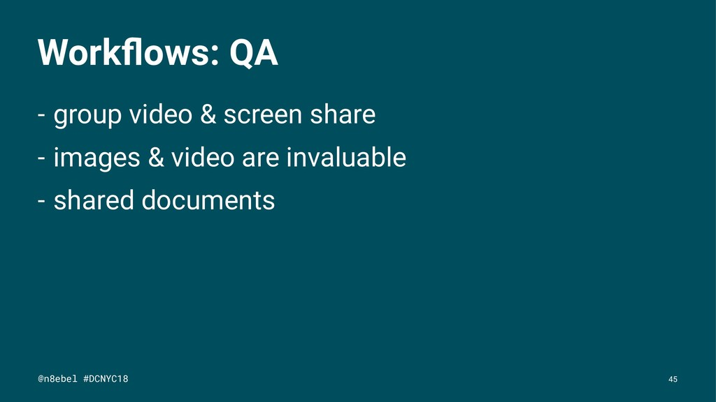 Workflows: QA - group video & screen share - ima...