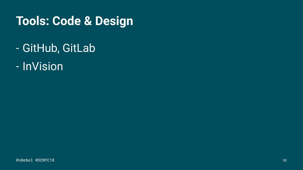 Tools: Code & Design - GitHub, GitLab - InVisio...