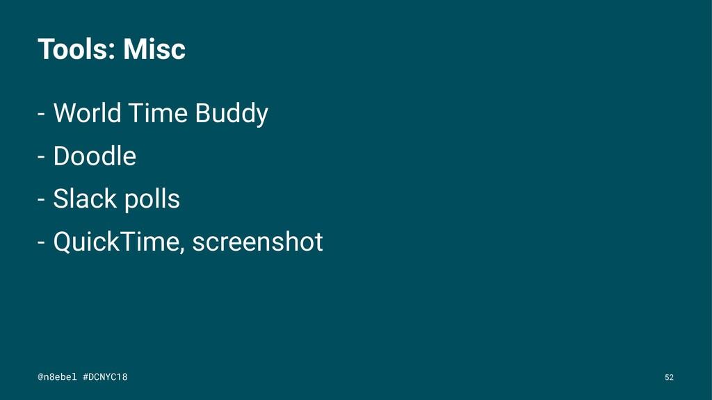 Tools: Misc - World Time Buddy - Doodle - Slack...