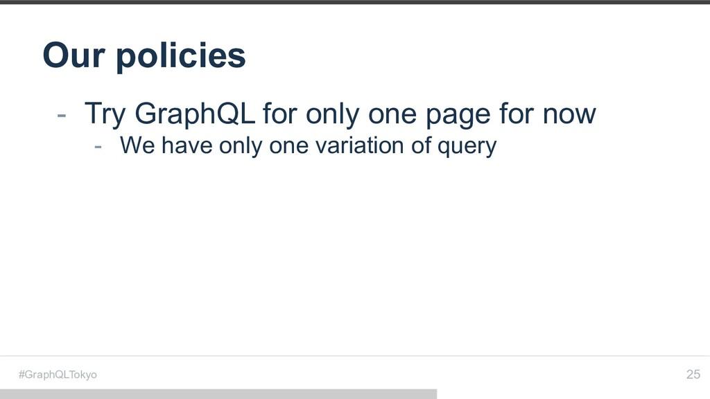 #GraphQLTokyo Our policies 25 - Try GraphQL for...