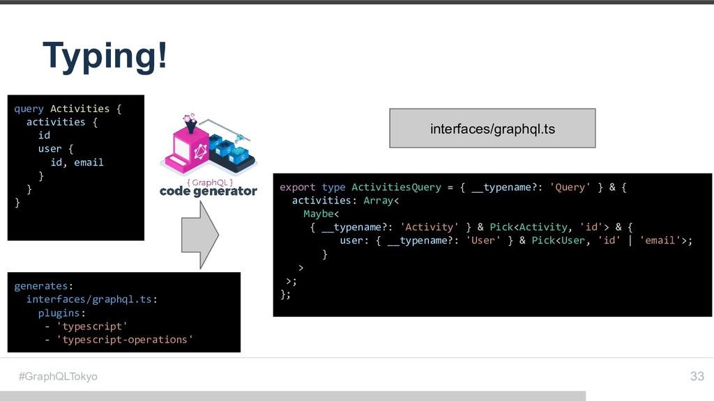 #GraphQLTokyo Typing! 33 query Activities { act...
