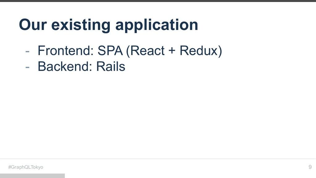 #GraphQLTokyo Our existing application 9 - Fron...