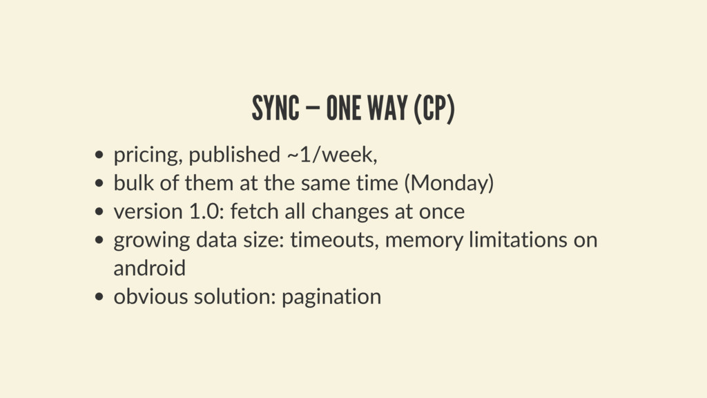 SYNC — ONE WAY (CP) pricing, published ~1/week,...
