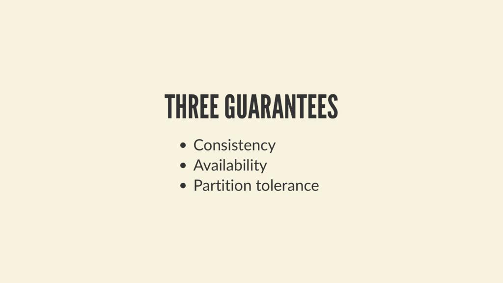 THREE GUARANTEES Consistency Availability Parti...