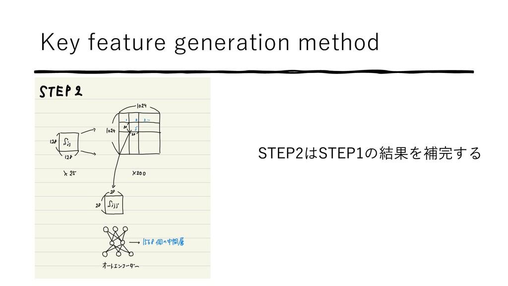 Key feature generation method STEP2はSTEP1の結果を補完...
