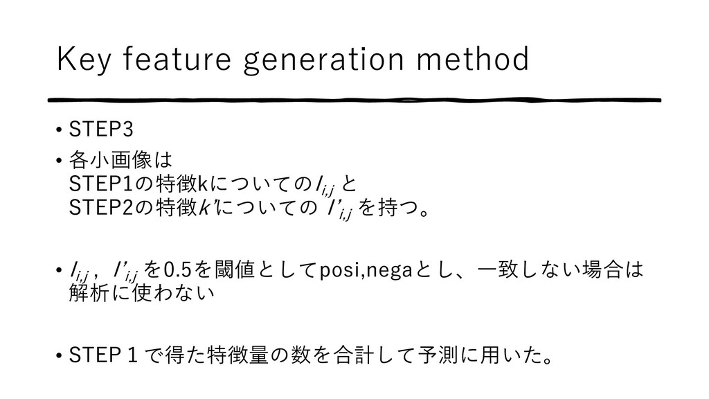Key feature generation method • STEP3 • 各⼩画像は S...