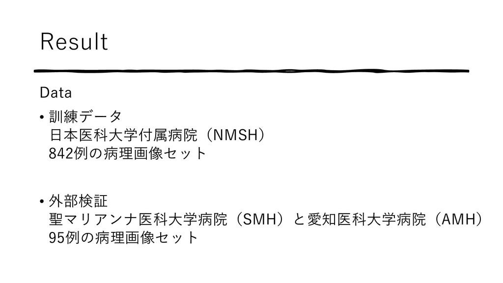 Result Data • 訓練データ ⽇本医科⼤学付属病院(NMSH) 842例の病理画像セ...