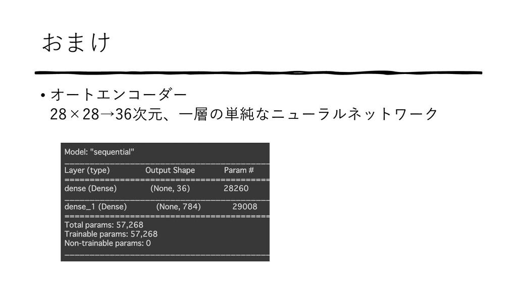 おまけ • オートエンコーダー 28×28→36次元、⼀層の単純なニューラルネットワーク
