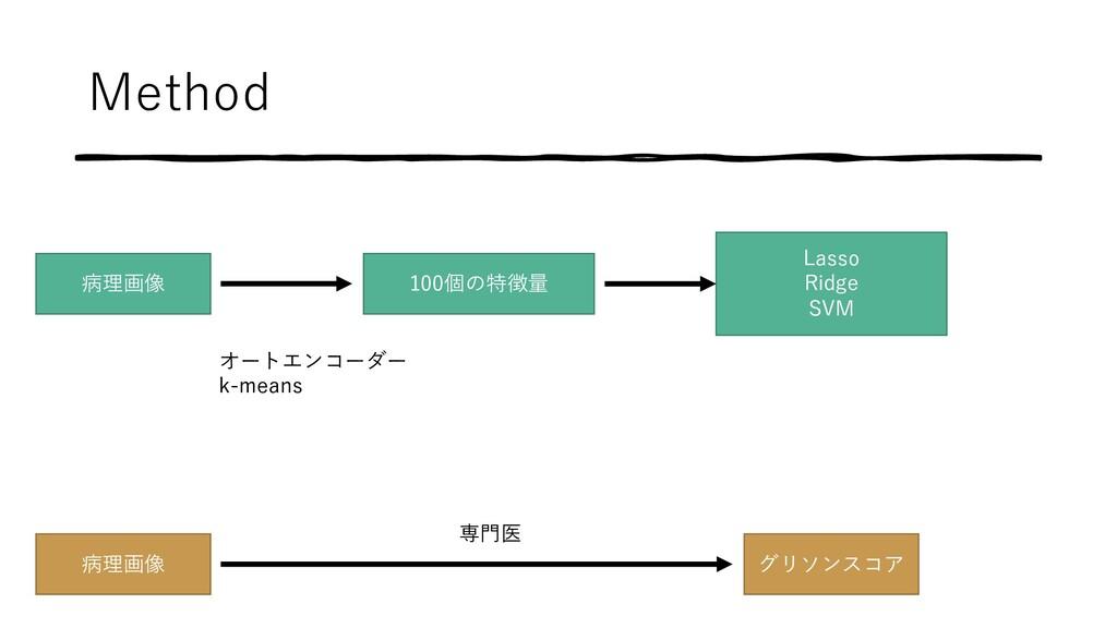 Method 病理画像 100個の特徴量 Lasso Ridge SVM 病理画像 グリソンス...