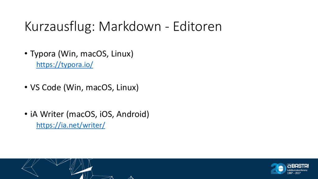 Kurzausflug: Markdown - Editoren • Typora (Win,...