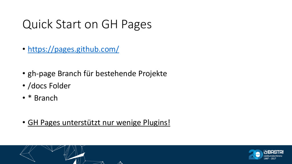 Quick Start on GH Pages • https://pages.github....