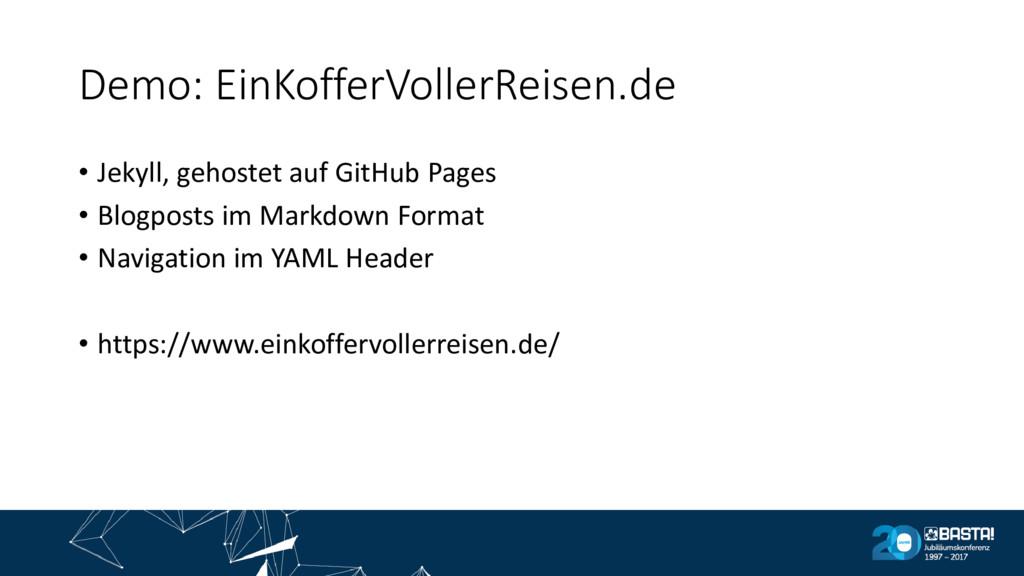 Demo: EinKofferVollerReisen.de • Jekyll, gehost...