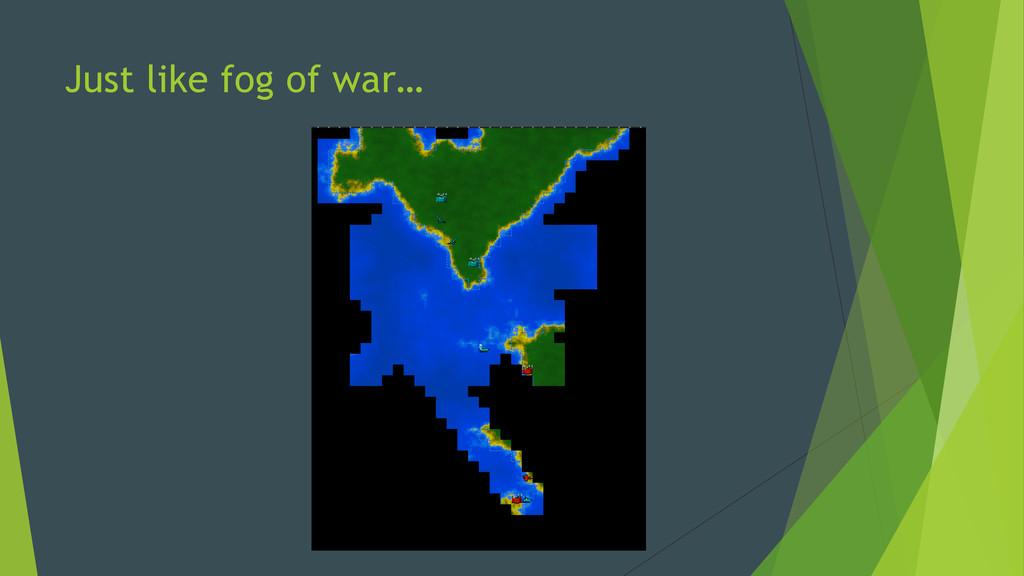 Just like fog of war…