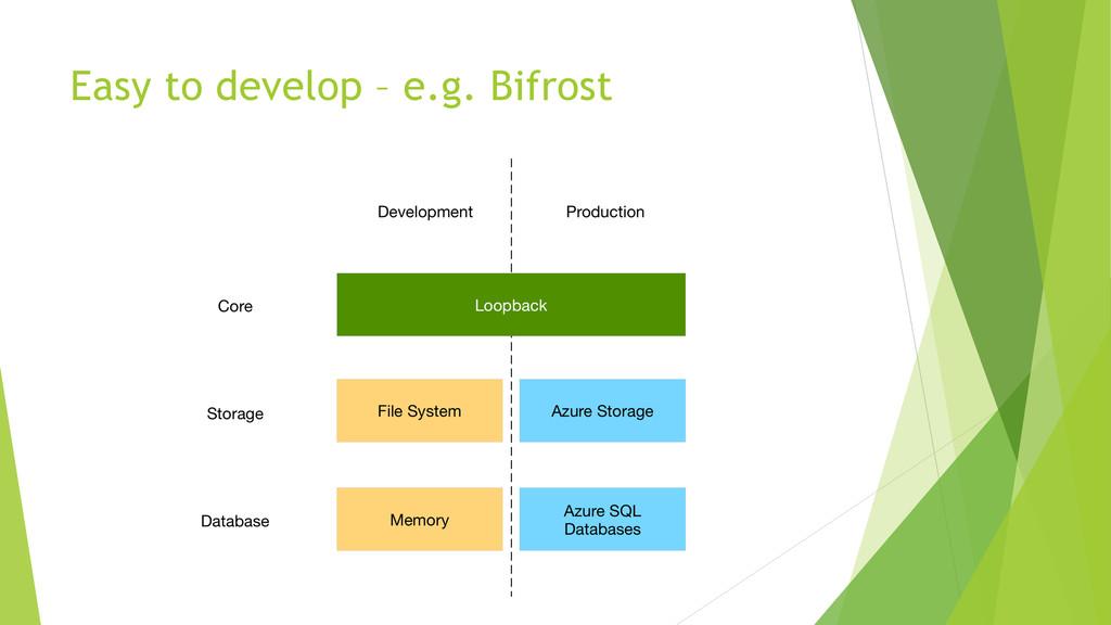 Easy to develop – e.g. Bifrost