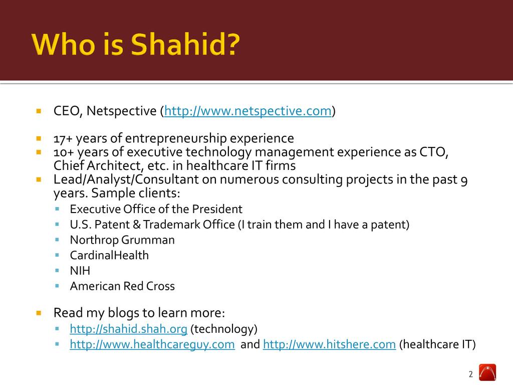  CEO, Netspective (http://www.netspective.com)...