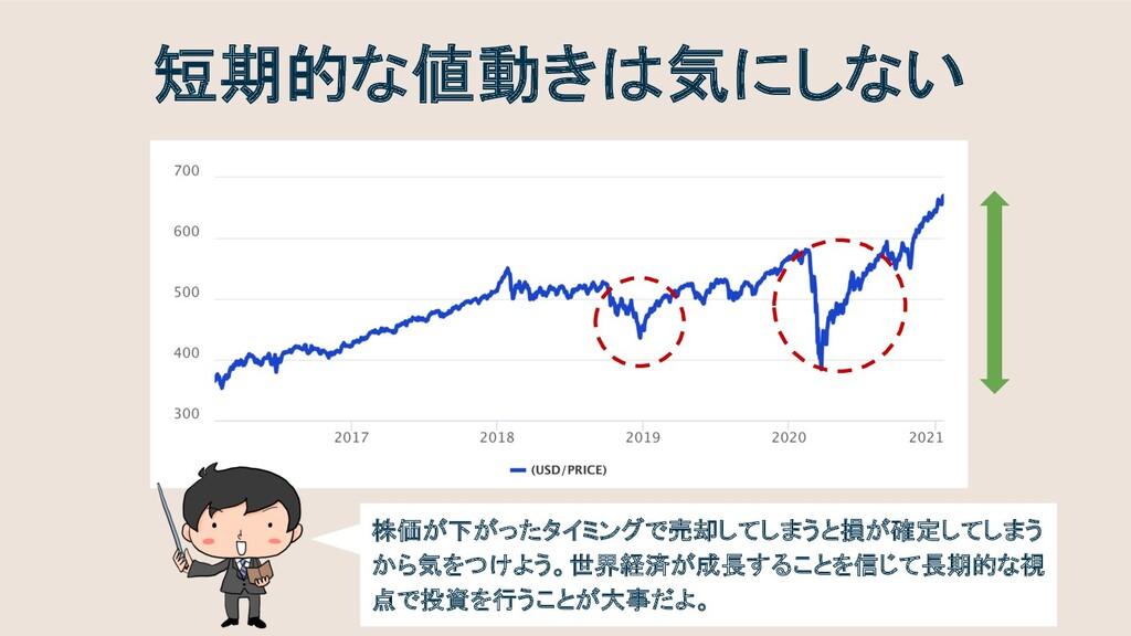 短期的な値動きは気にしない 株価が下がったタイミングで売却してしまうと損が確定してしまう から...